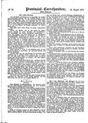 Provinzial-Correspondenz on Aug 10, 1870