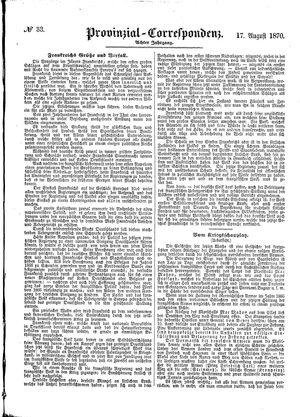 Provinzial-Correspondenz vom 17.08.1870