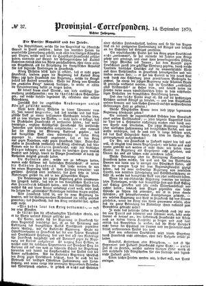 Provinzial-Correspondenz vom 14.09.1870