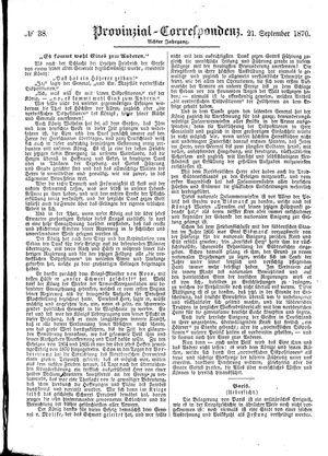 Provinzial-Correspondenz vom 21.09.1870