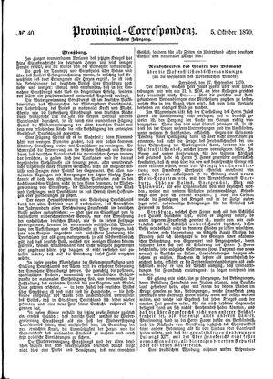 Provinzial-Correspondenz vom 05.10.1870