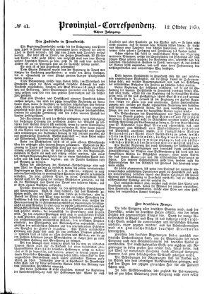 Provinzial-Correspondenz on Oct 12, 1870
