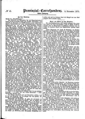 Provinzial-Correspondenz vom 09.11.1870