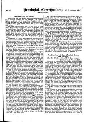 Provinzial-Correspondenz vom 16.11.1870