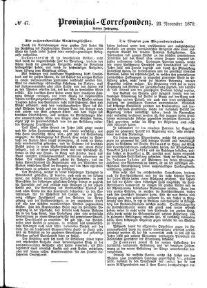 Provinzial-Correspondenz on Nov 23, 1870