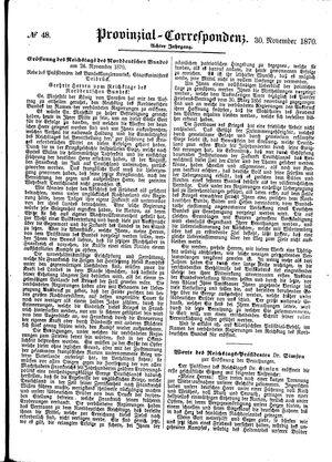 Provinzial-Correspondenz vom 30.11.1870