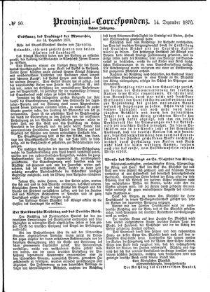 Provinzial-Correspondenz vom 14.12.1870