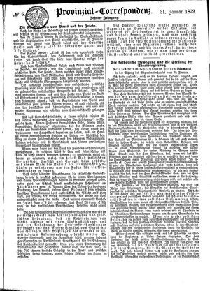 Provinzial-Correspondenz vom 31.01.1872