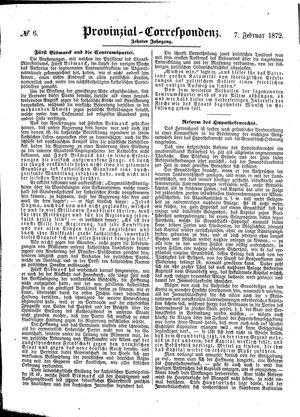 Provinzial-Correspondenz vom 07.02.1872