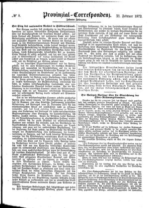 Provinzial-Correspondenz vom 21.02.1872