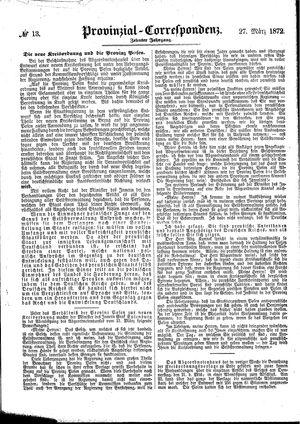 Provinzial-Correspondenz vom 27.03.1872