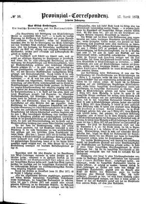 Provinzial-Correspondenz vom 17.04.1872