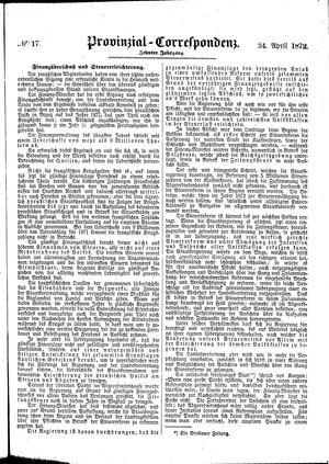 Provinzial-Correspondenz vom 24.04.1872