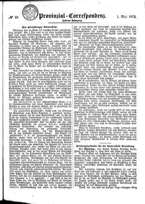 Provinzial-Correspondenz vom 01.05.1872
