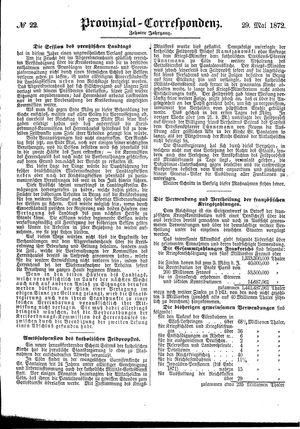 Provinzial-Correspondenz vom 29.05.1872