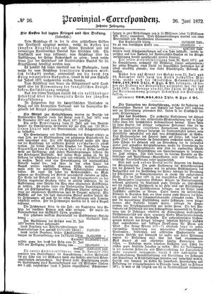 Provinzial-Correspondenz vom 26.06.1872