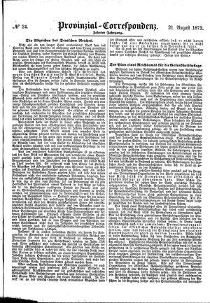 Provinzial-Correspondenz vom 21.08.1872