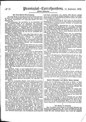 Provinzial-Correspondenz vom 11.09.1872