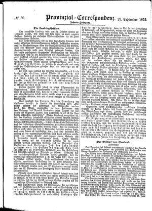 Provinzial-Correspondenz vom 25.09.1872