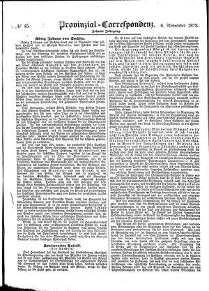 Provinzial-Correspondenz vom 06.11.1872