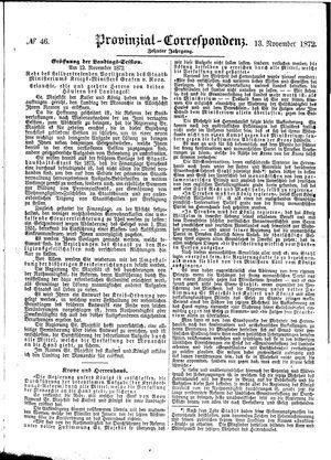 Provinzial-Correspondenz vom 13.11.1872