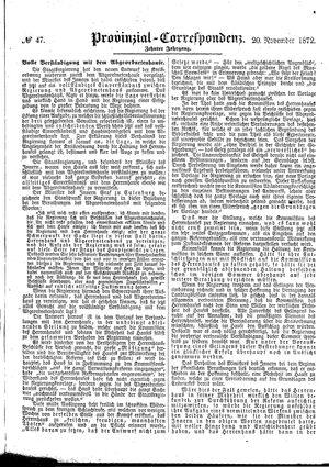 Provinzial-Correspondenz vom 20.11.1872