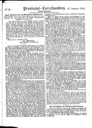 Provinzial-Correspondenz vom 27.12.1872