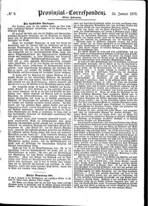 Provinzial-Correspondenz on Jan 15, 1873