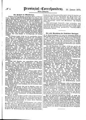 Provinzial-Correspondenz on Jan 22, 1873