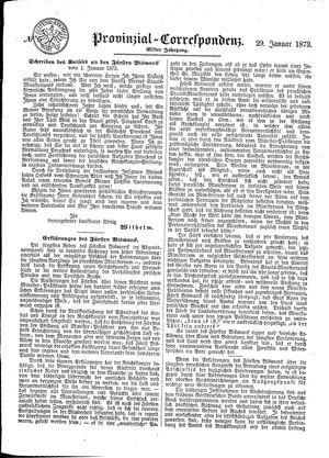 Provinzial-Correspondenz vom 29.01.1873