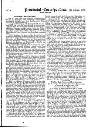 Provinzial-Correspondenz vom 26.02.1873