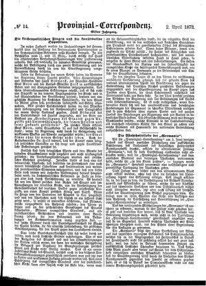 Provinzial-Correspondenz vom 02.04.1873