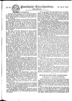 Provinzial-Correspondenz vom 30.04.1873