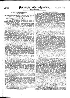 Provinzial-Correspondenz vom 21.05.1873