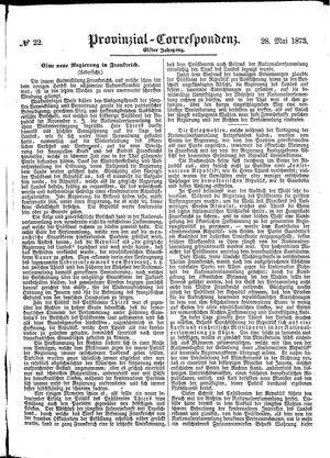 Provinzial-Correspondenz vom 28.05.1873