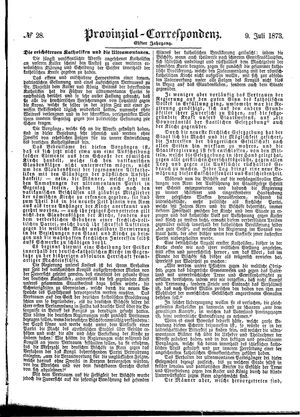Provinzial-Correspondenz vom 09.07.1873