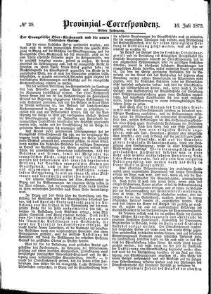 Provinzial-Correspondenz vom 16.07.1873