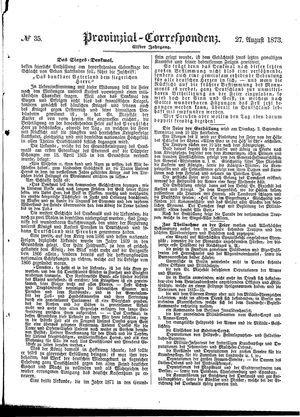 Provinzial-Correspondenz vom 27.08.1873