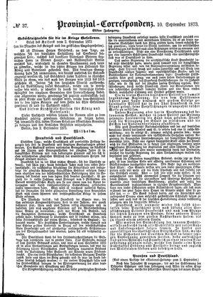 Provinzial-Correspondenz vom 10.09.1873