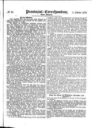Provinzial-Correspondenz vom 01.10.1873