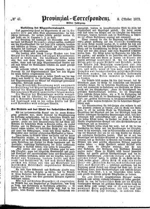 Provinzial-Correspondenz on Oct 8, 1873