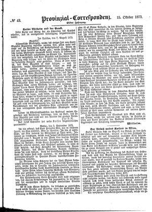 Provinzial-Correspondenz vom 15.10.1873