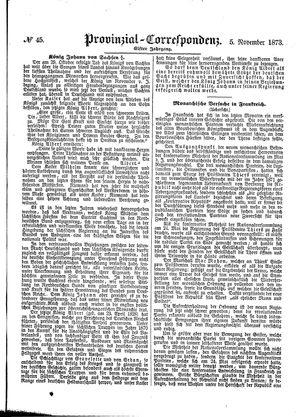 Provinzial-Correspondenz vom 05.11.1873