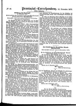 Provinzial-Correspondenz vom 12.11.1873