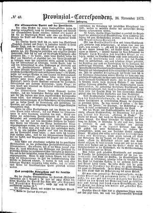Provinzial-Correspondenz on Nov 26, 1873
