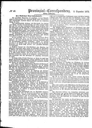 Provinzial-Correspondenz vom 03.12.1873