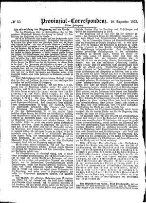 Provinzial-Correspondenz on Dec 10, 1873