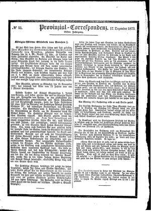 Provinzial-Correspondenz vom 17.12.1873