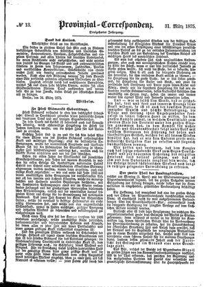 Provinzial-Correspondenz vom 31.03.1875