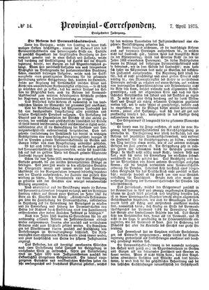 Provinzial-Correspondenz vom 07.04.1875